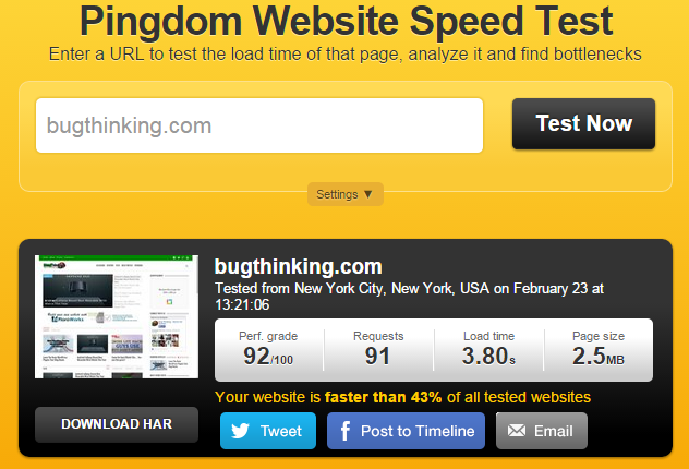 Pingdom Test Speed