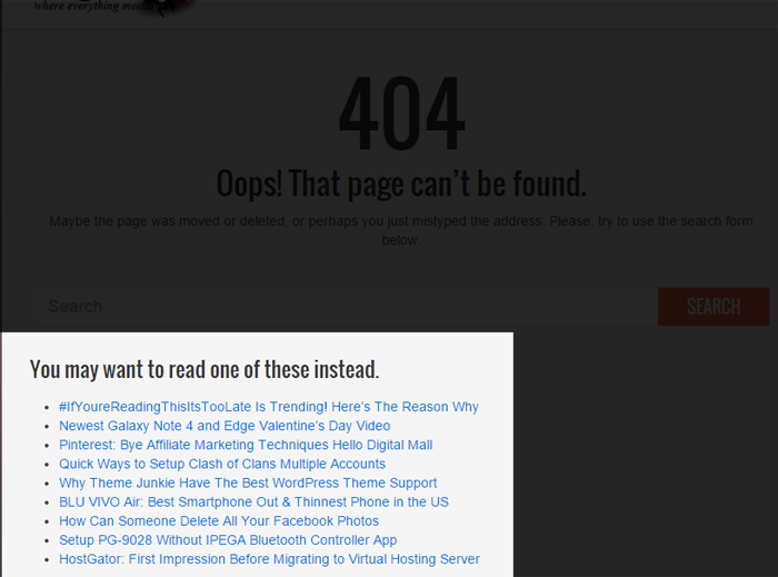 Updated Error 404 page