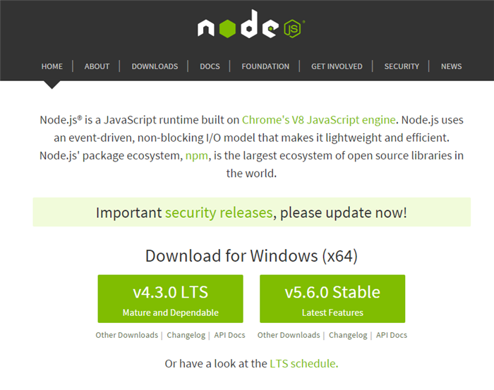 Node JS for Windows