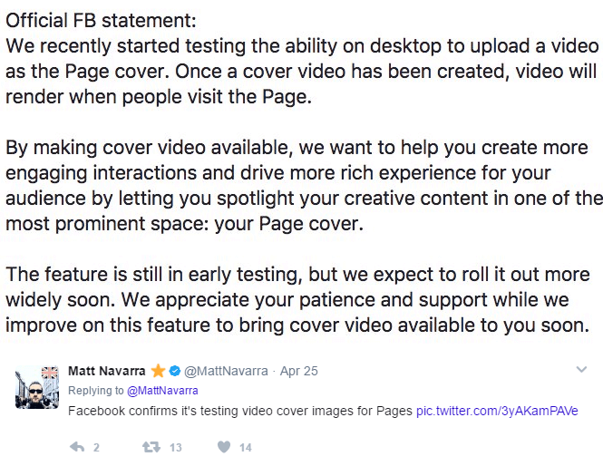 Official FB Statement