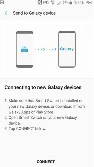 Smart switch for Galaxy S7 - Send to Galaxy Device