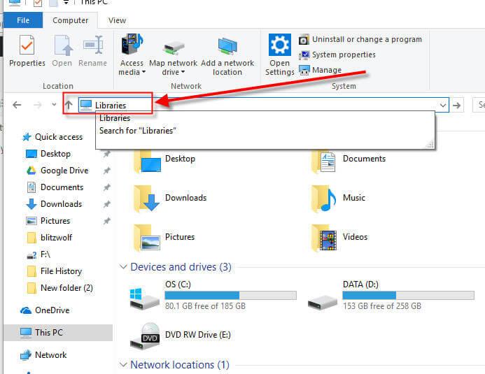Windows 10 Show Libraries