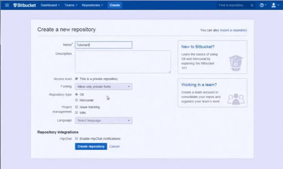 Bitbucket - Create a repository