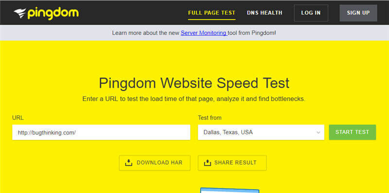 Pingdom Website Speed Tool