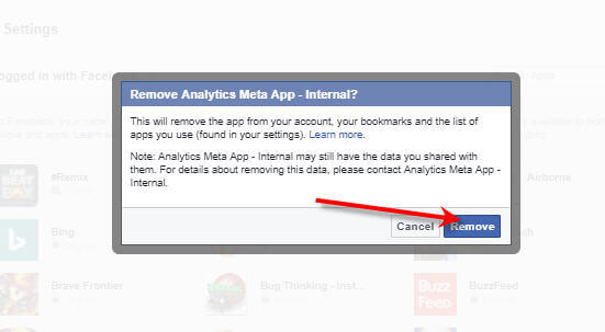 Facebook Settings Apps Remove App permanently