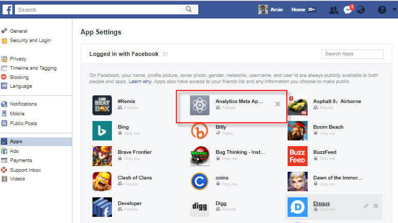 Facebook Settings Apps Select an App to Remove