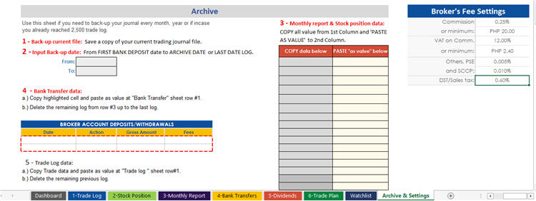 Archive and Settings - Trading Journal Spreadsheet from AAES