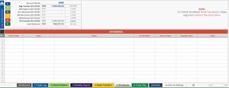 DividendsTrading Journal Spreadsheet from AAES