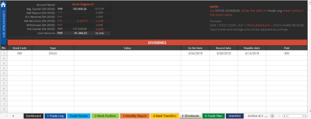 PSE Trading Journal Spreadsheet - Dividends