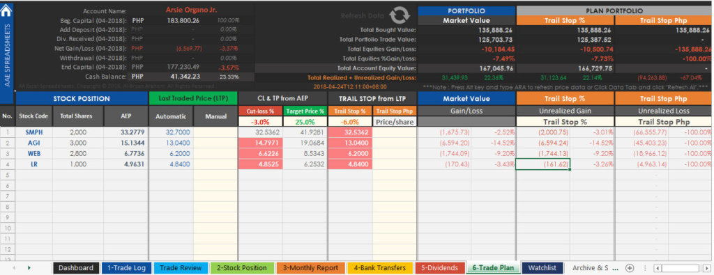 PSE Trading Journal Spreadsheet - Trade Plan