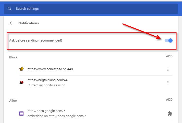 Google Chrome Desktop Notifications default settings