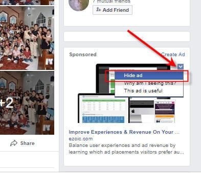 Hide Ad On Facebook on Sidebar