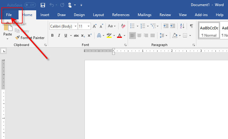 Microsoft Office Word - File Menu