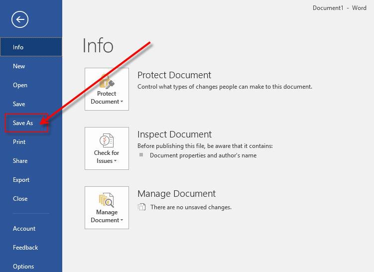 Microsoft Office Word - Save As Menu
