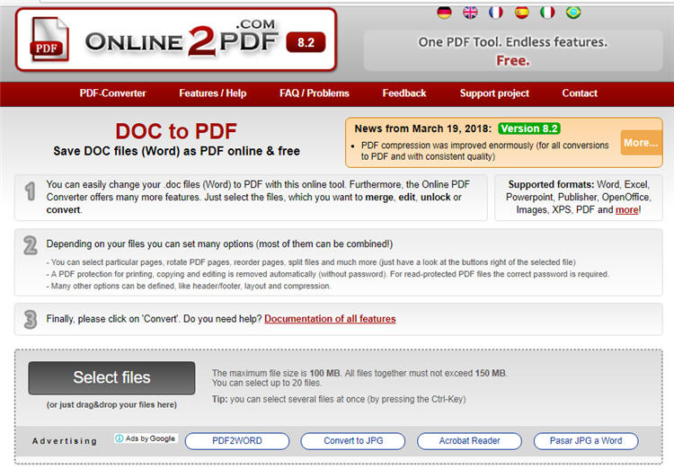 Online2PDF converter