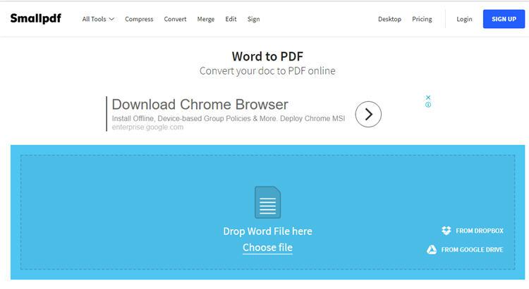SmallPDF Word To PDF