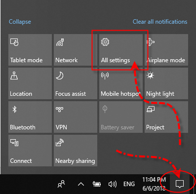 Action Center All Settings Notification