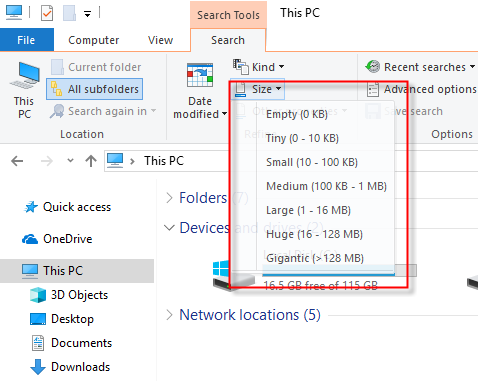 File Explorer - Search Files Sizes