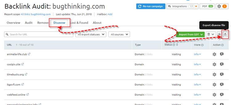 SEMRUSH Backlink Audit Tool Disavow Links to Google