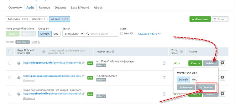 SEMRUSH Backlink Audit Tool Disavow Links