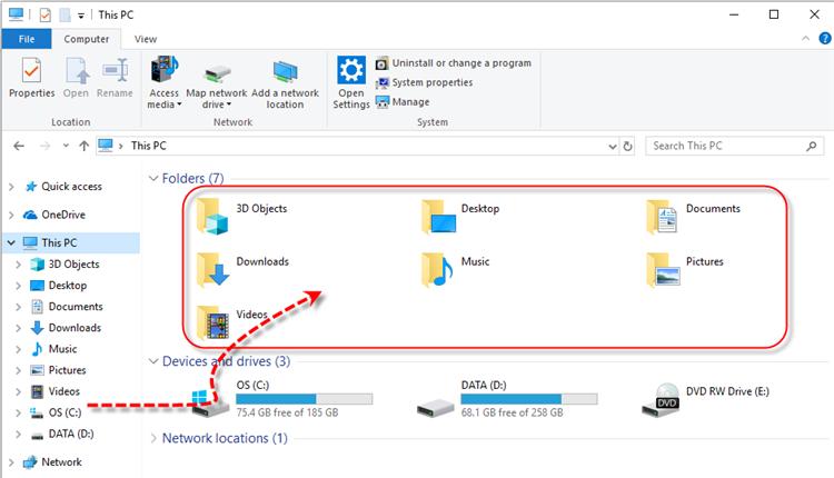 Windows 10 Default Folders