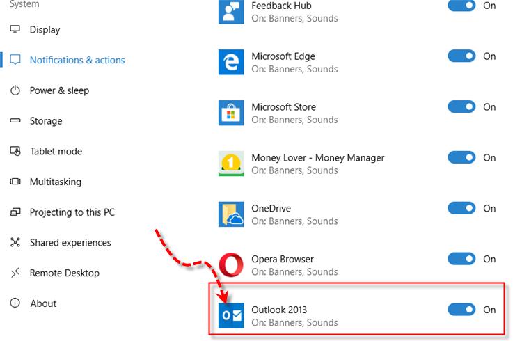 Windows 10 Microsoft Outlook 2013