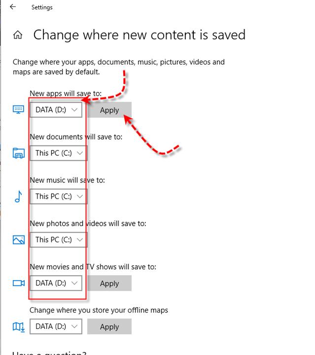 Windows 10 Storage Sense - Change Location options