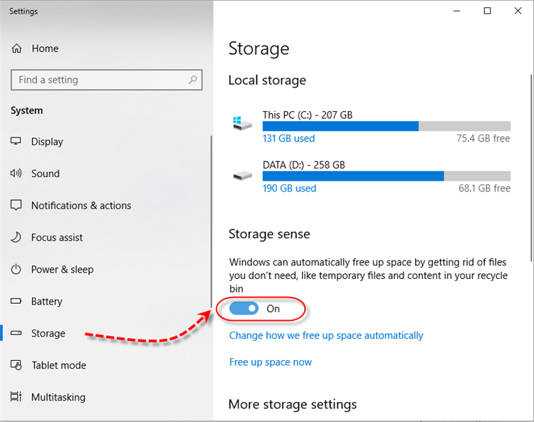 Windows 10 Storage Sense - Enable