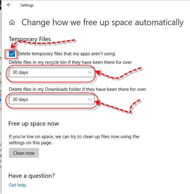 Windows 10 Storage Sense - Temporary Files
