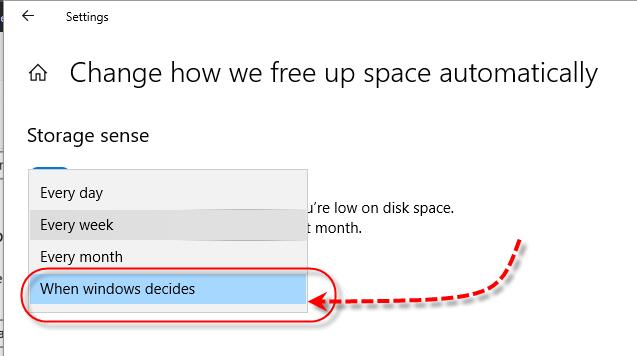 Windows 10 Storage Sense - When windows decides