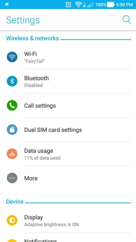 Android Data Usage Option