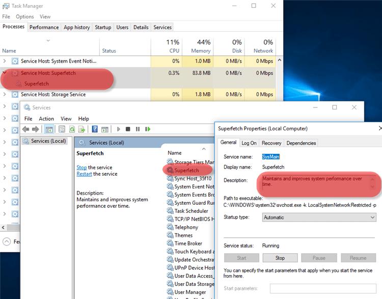 Microsoft Windows 10 Superfetch Process