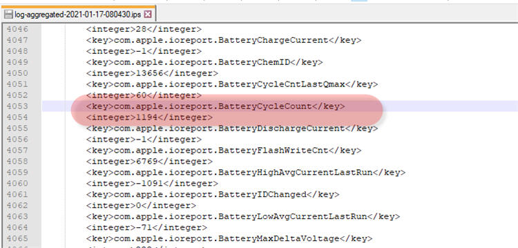 iPhone Log Aggregated data - Battery Cycle Count